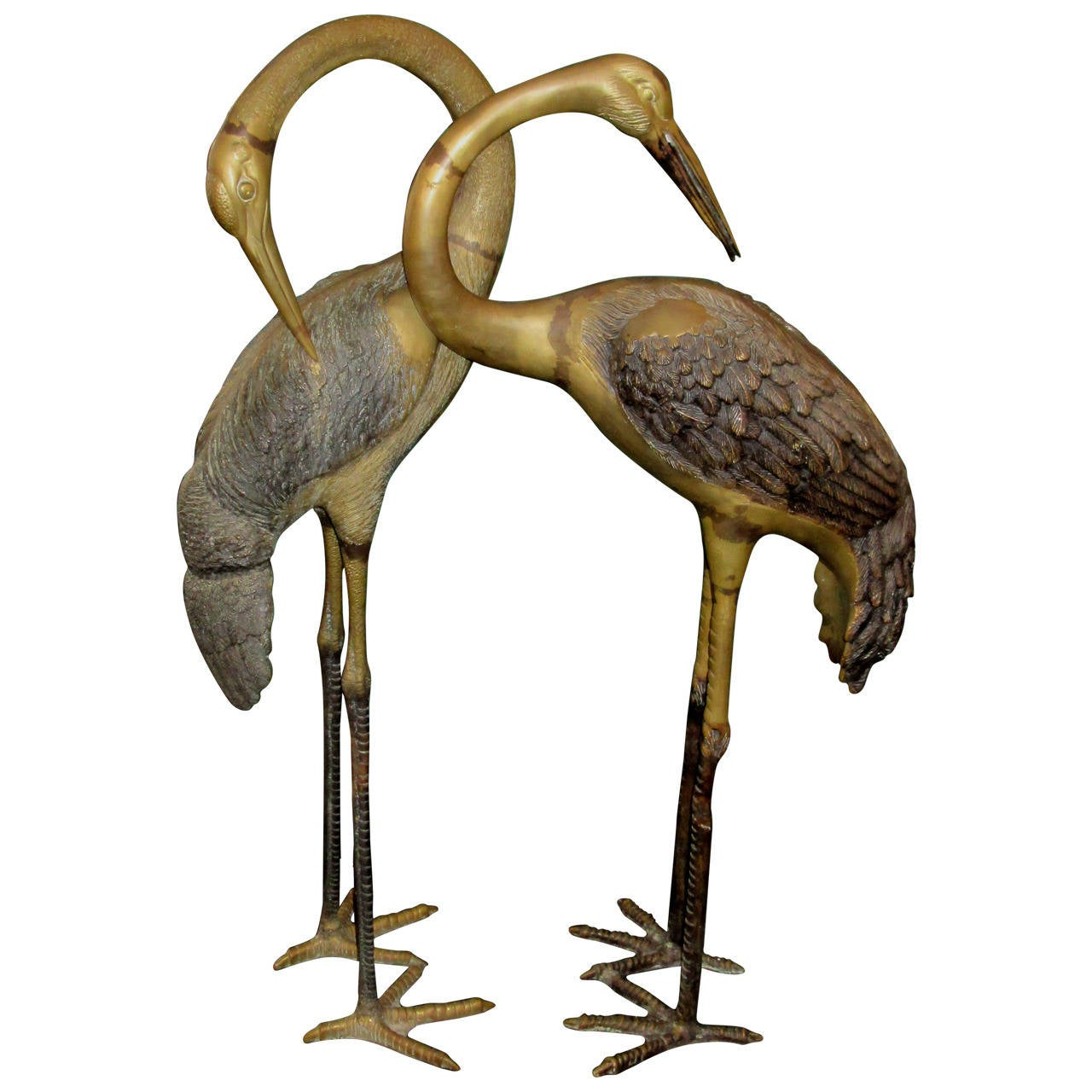 Pair of Large Patinated Brass Sculptures of Herons