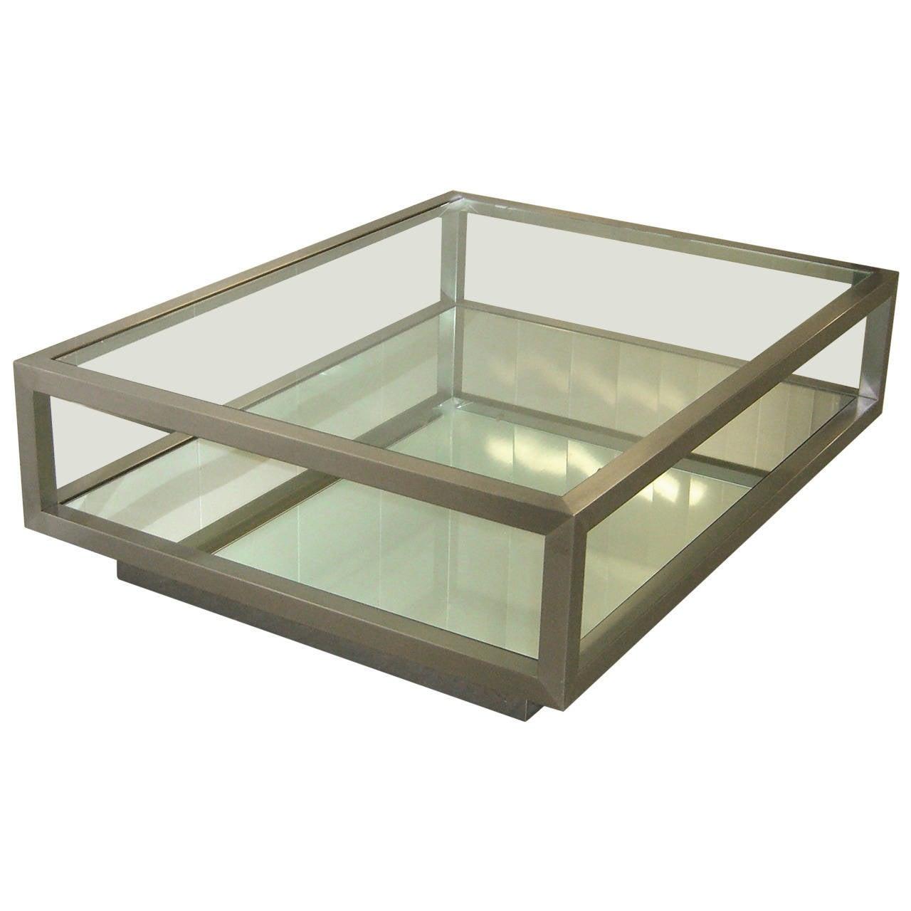 Brushed Steel Rolling Platform Cocktail Table For Sale