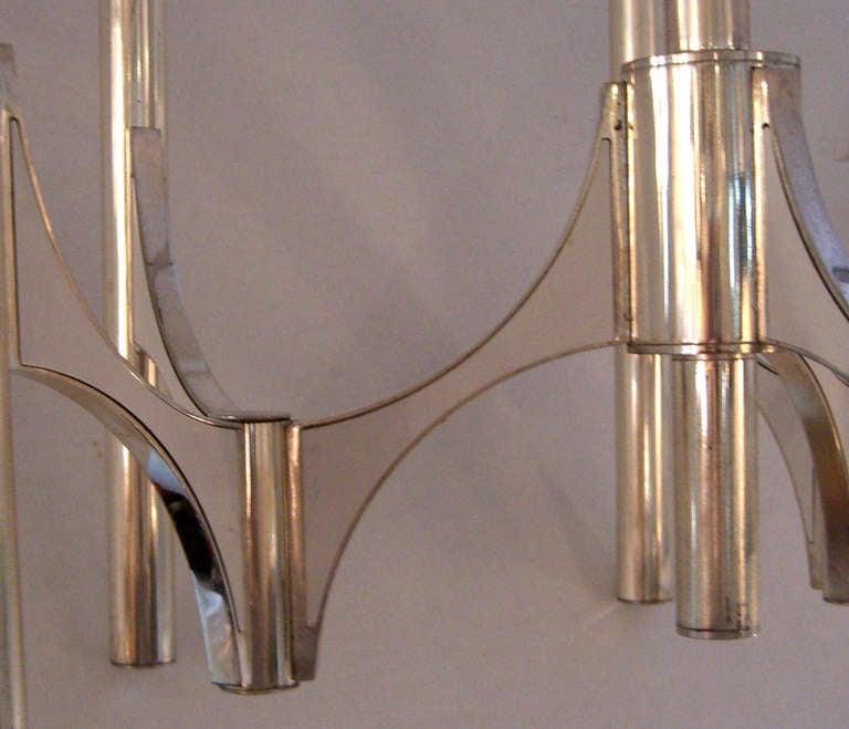 Italian Mid-Century Modern Six-Arm Chandelier Designed by Gaetano Sciolari In Good Condition For Sale In Mt Kisco, NY