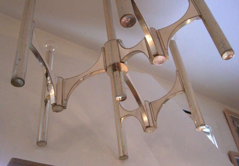 Mid-20th Century Italian Mid-Century Modern Six-Arm Chandelier Designed by Gaetano Sciolari For Sale