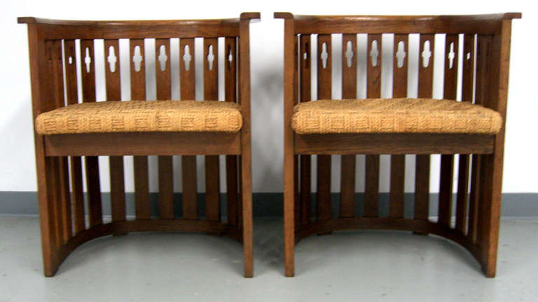 Arts and Crafts Pair of Vienna Arts & Crafts Movement Oak Armchairs For Sale