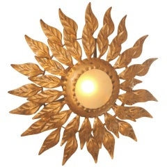 Petite French Gilt Metal Sunflower Light