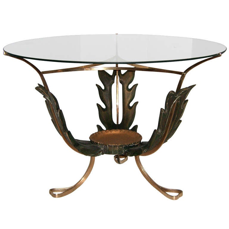 Stunning 1940s Italian Carved Wood and Brass Cocktail Table For Sale