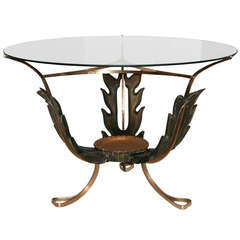Stunning 1940s Italian Carved Wood and Brass Cocktail Table