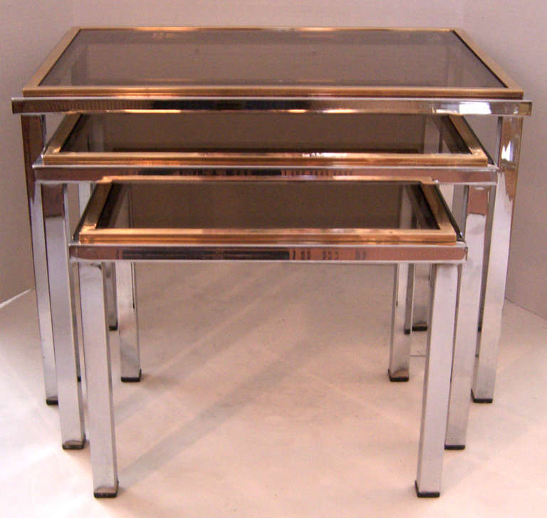 French chrome and brass glass top nesting tables at 1stdibs for Glass top nesting tables