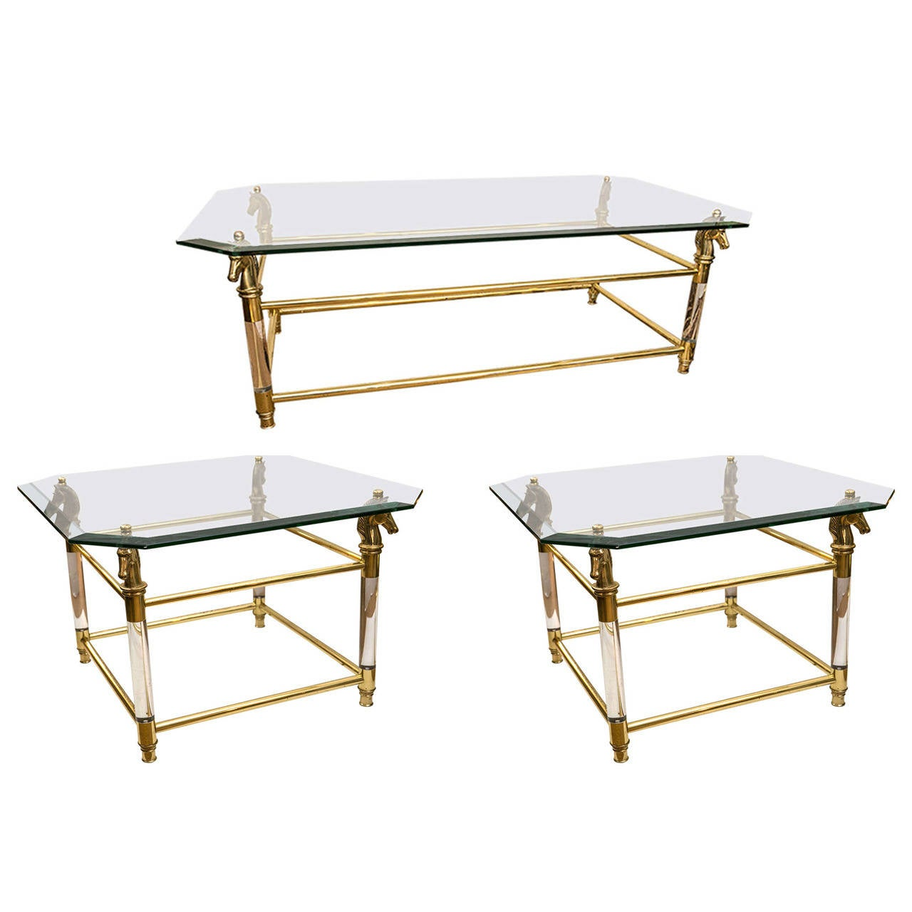 set of vintage french brass and lucite horse head glass top tables  - set of vintage french brass and lucite horse head glass top tables