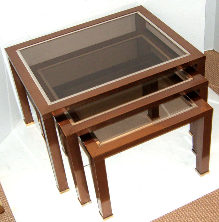 Set of french modern copper finish glass top nesting for Glass top nesting tables