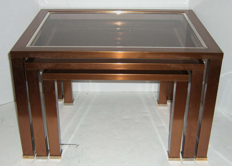 Set Of French Modern Copper Finish Glass Top Nesting Tables 3