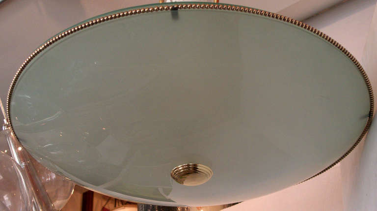 Saucer Form Glass and Brass Pendant Chandelier Attributed to Stilnovo In Excellent Condition For Sale In Mt Kisco, NY