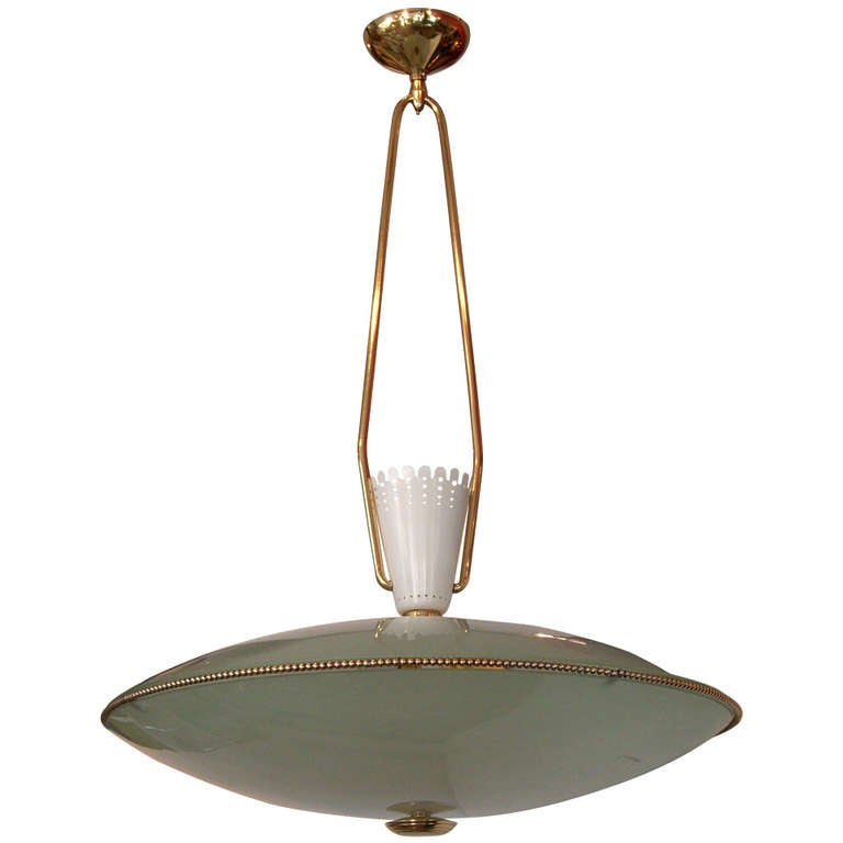 Saucer Form Glass and Brass Pendant Chandelier Attributed to Stilnovo 1