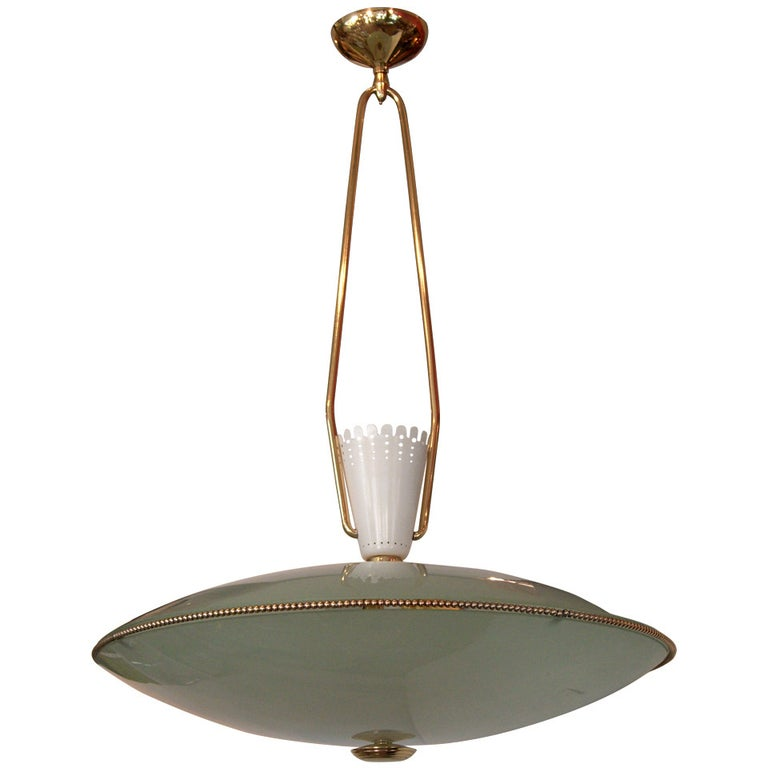 Saucer Form Glass and Brass Pendant Chandelier Attributed to Stilnovo For Sale
