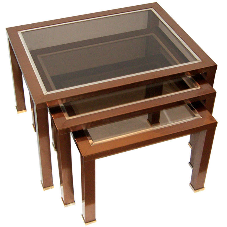 Set Of French Modern Copper Finish Glass Top Nesting Tables 1