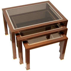 Set of French Modern Copper Finish Glass Top Nesting Tables