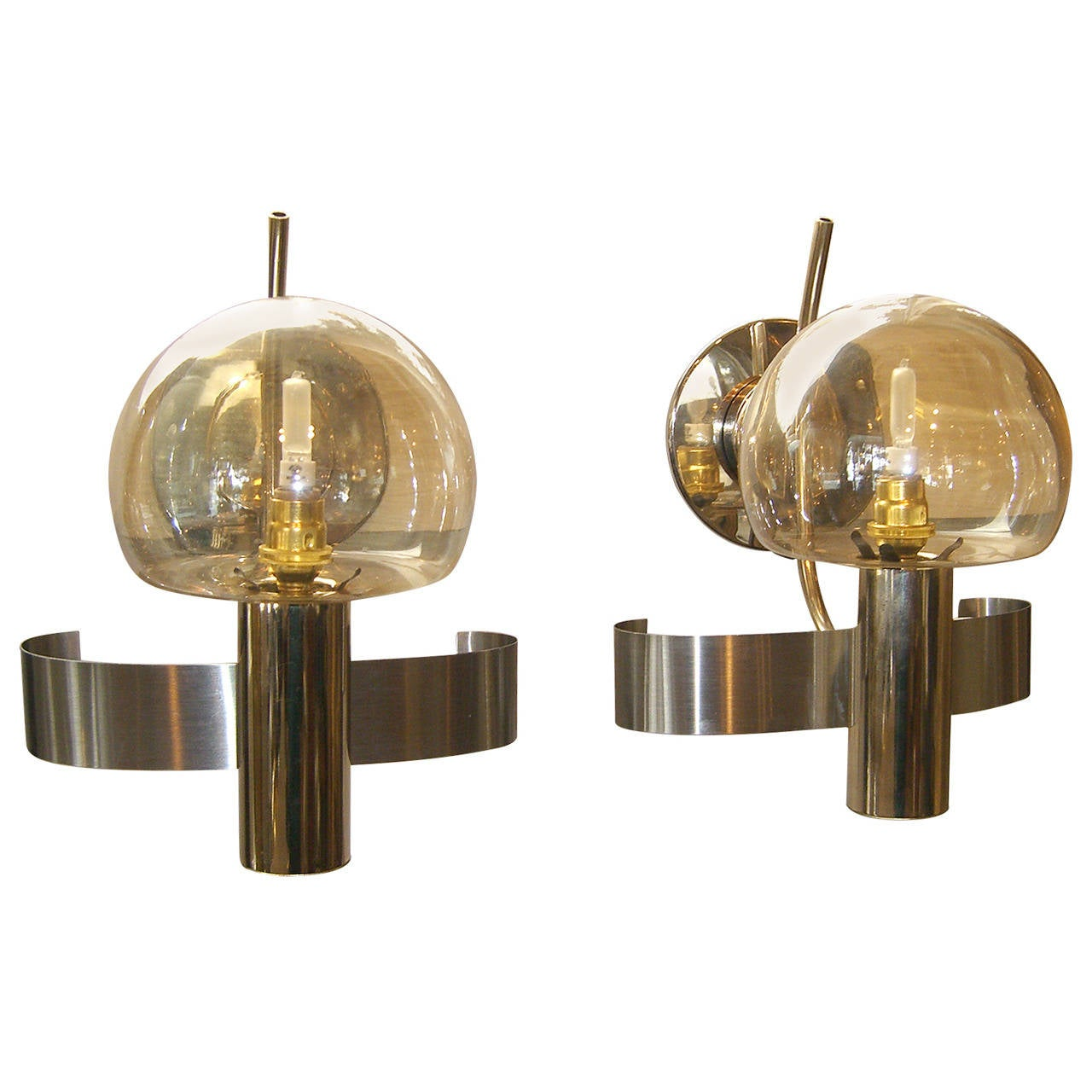 Modern Wall Sconces Italian : Pair of Mid-Century Modern Italian Glass and Metal Wall Lights For Sale at 1stdibs