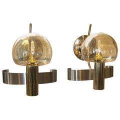Pair of Mid-Century Modern Italian Glass and Metal Wall Lights