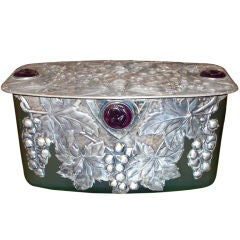 Art Nouveau Period Silver & Glass Biscuit Box