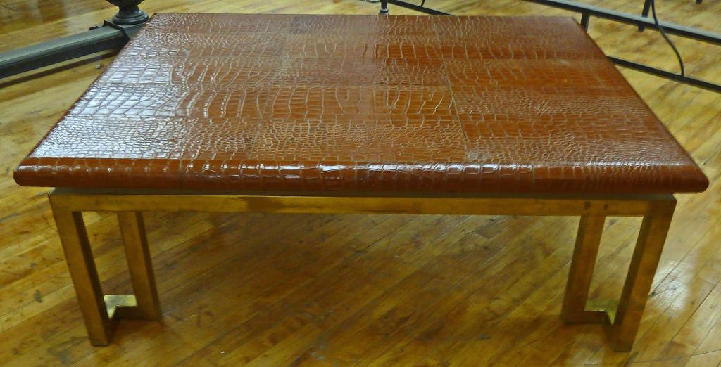 "Italian Leather ""Crocodile"" & Brass Modernist Coffee Table 2"