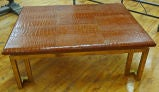 "Italian Leather ""Crocodile"" & Brass Modernist Coffee Table image 3"