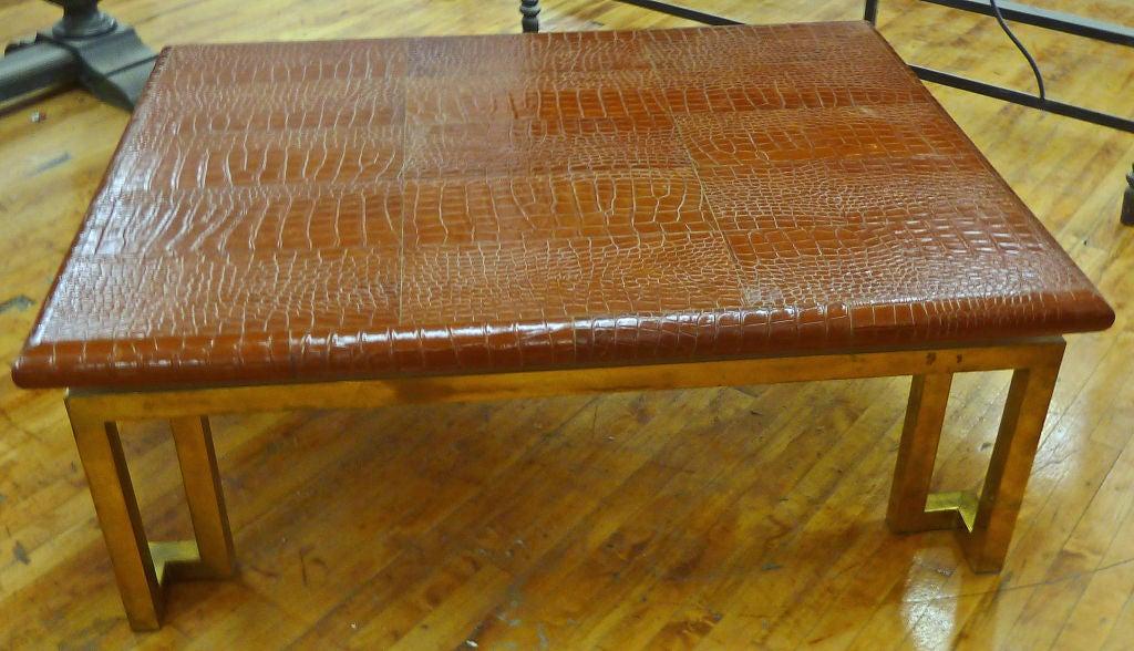 "Italian Leather ""Crocodile"" & Brass Modernist Coffee Table 3"