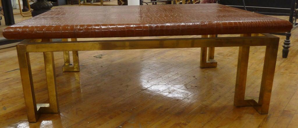 "Italian Leather ""Crocodile"" & Brass Modernist Coffee Table 4"