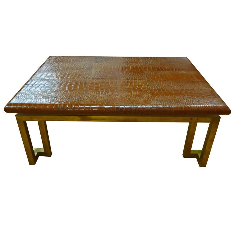 "Italian Leather ""Crocodile"" & Brass Modernist Coffee Table"