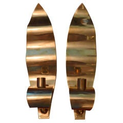 Pair of Mid Century Swedish Brass Candle Sconces