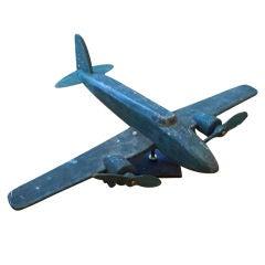 Vintage Wood Airplane Model on Stand
