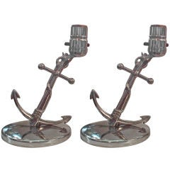 """Pair of Rare Art Deco """"Chase Taurex"""" Chrome Anchor Table Lamps"""