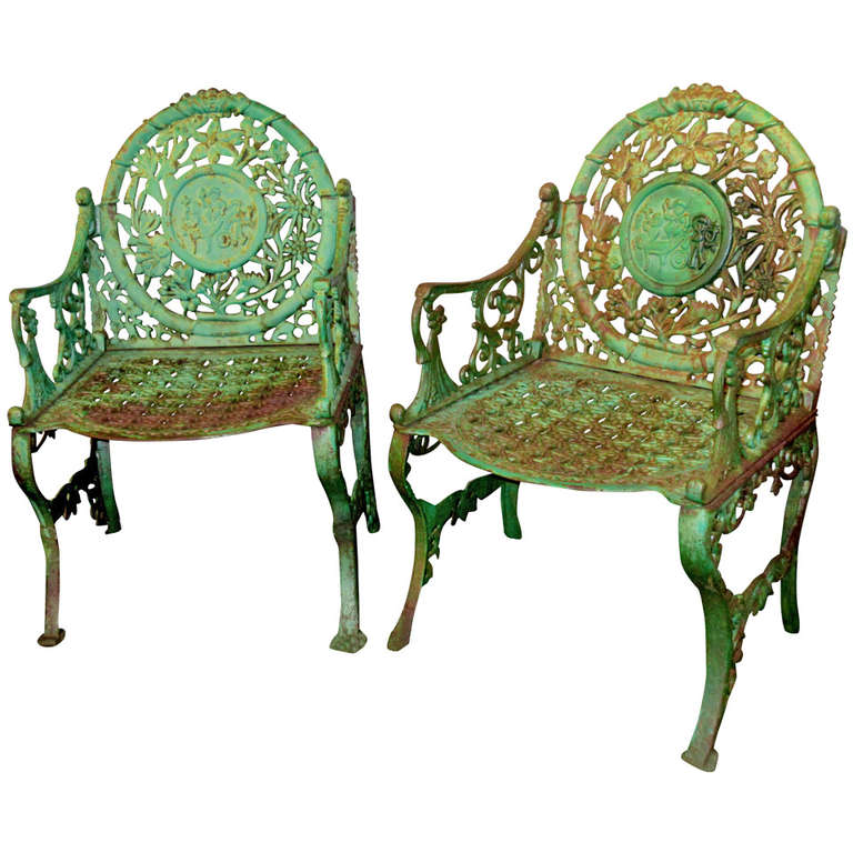 Pair of unique early 20th century cast iron garden chairs Cast iron garden furniture