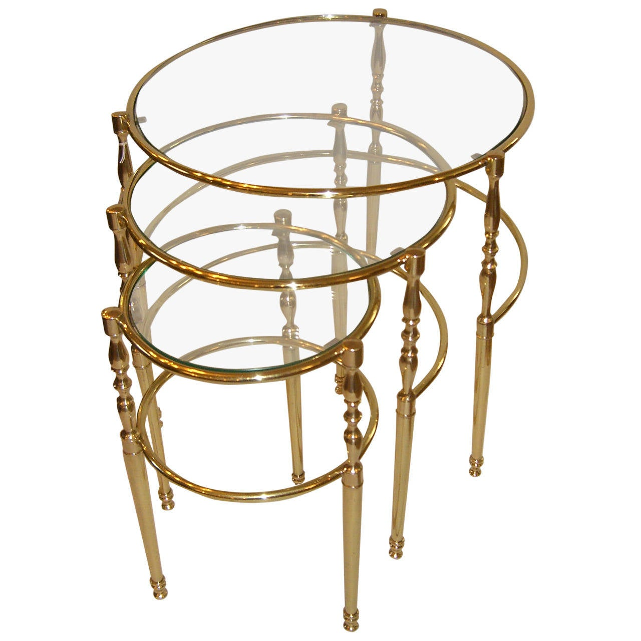 Vintage French Brass And Glass Circular Nesting Tables 1