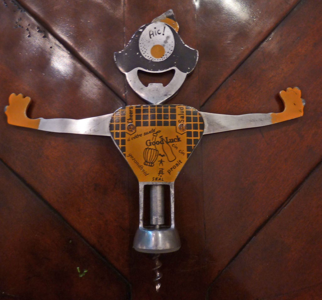 rare 1950 39 s italian clown corkscrew and bottle opener at 1stdibs. Black Bedroom Furniture Sets. Home Design Ideas