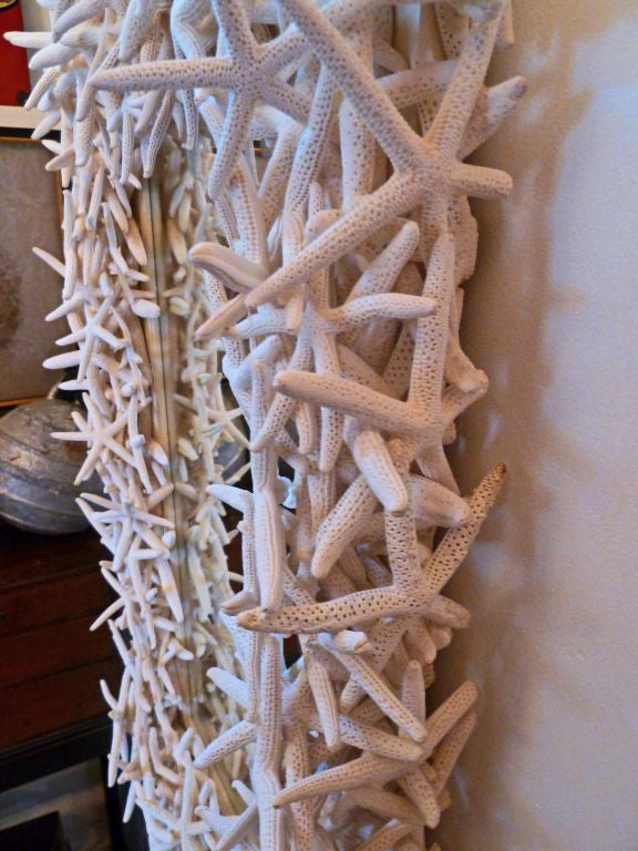 Dramatic Artisan Crafted Starfish Framed Mirror In Excellent Condition For Sale In Mt Kisco, NY
