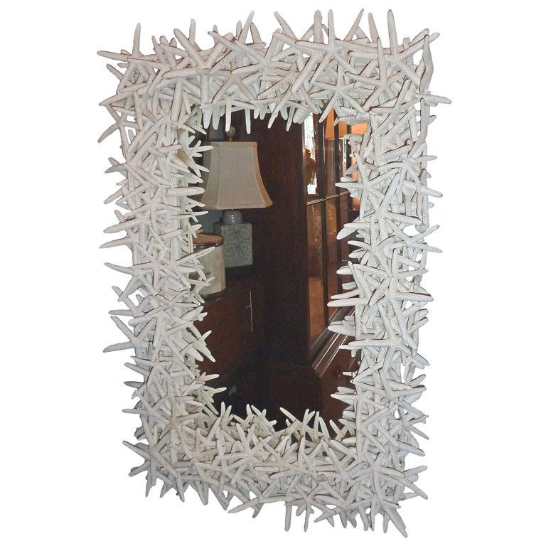 Dramatic Artisan Crafted Starfish Framed Mirror For Sale
