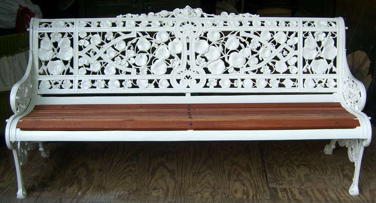 "19th Century English ""Nasturtium"" Pattern Garden Bench by Coalbrookdale 2"