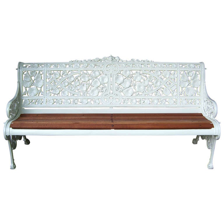 "19th Century English ""Nasturtium"" Pattern Garden Bench by Coalbrookdale For Sale"