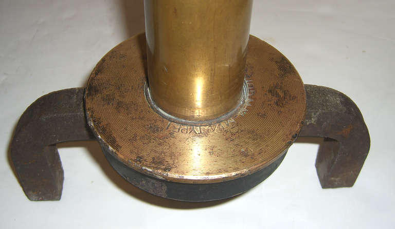 Mid-20th Century WWII Era Brass Howitzer Ammunition as Andirons For Sale