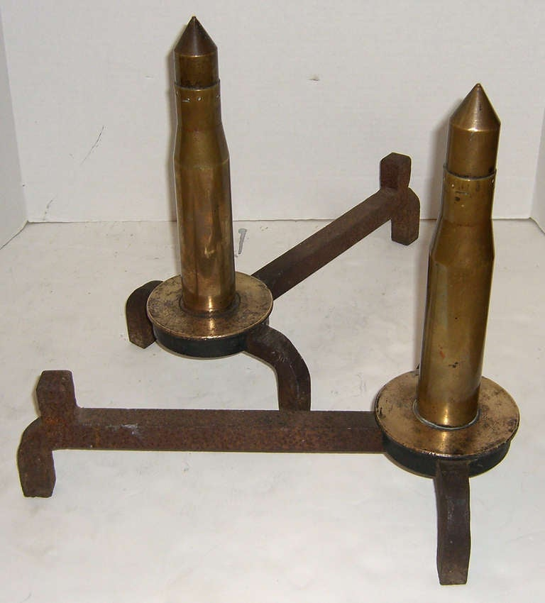 American WWII Era Brass Howitzer Ammunition as Andirons For Sale