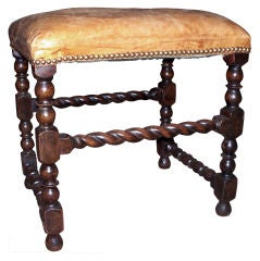 Victorian Oak Barley Twist Foot Stool Upholstered in Leather