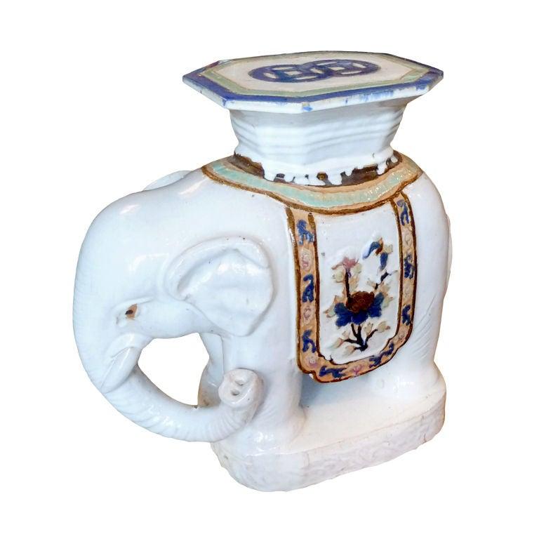 Vintage Chinese Glazed Ceramic Elephant Garden Seat At 1stdibs