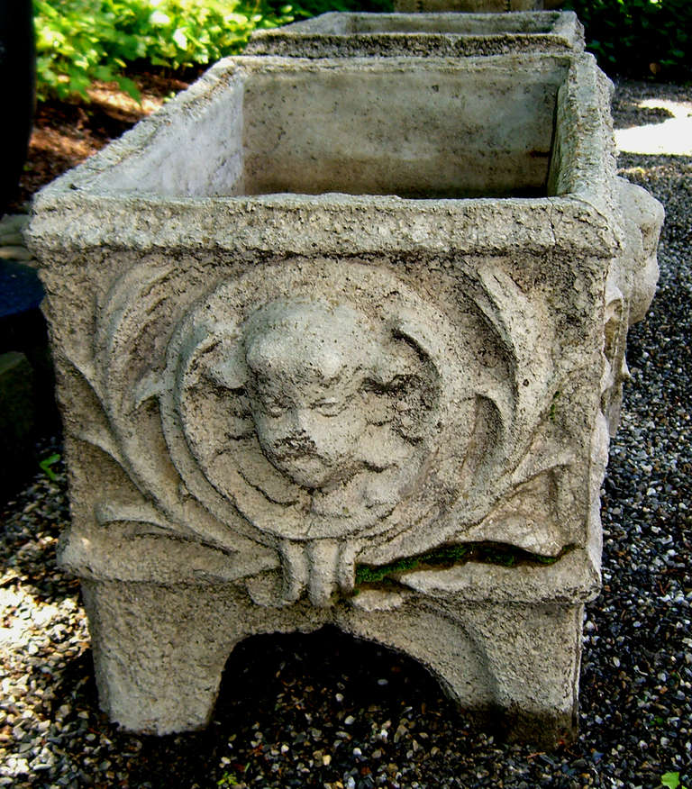 High Stone Wall Garden With Rectangular French Marble: A Unique Pair Of Weathered Stone Cherub Motif Garden