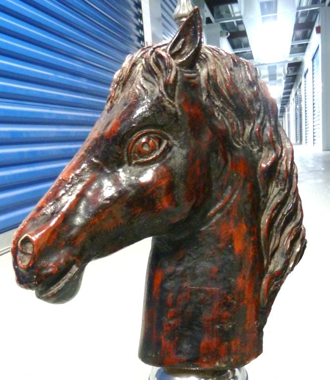 20th Century Pair of French Glazed Terra Cotta Decorative Horse Figures For Sale