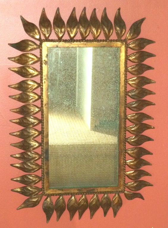 Vintage Spanish Gilt Metal Leaf Frame Mirror For Sale At