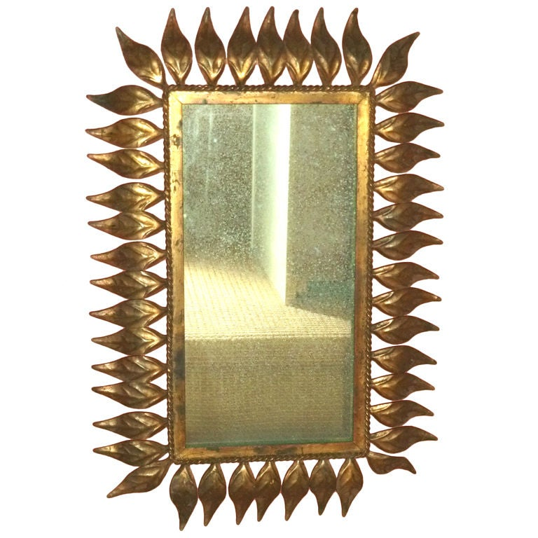 Vintage Spanish Gilt Metal Leaf Frame Mirror