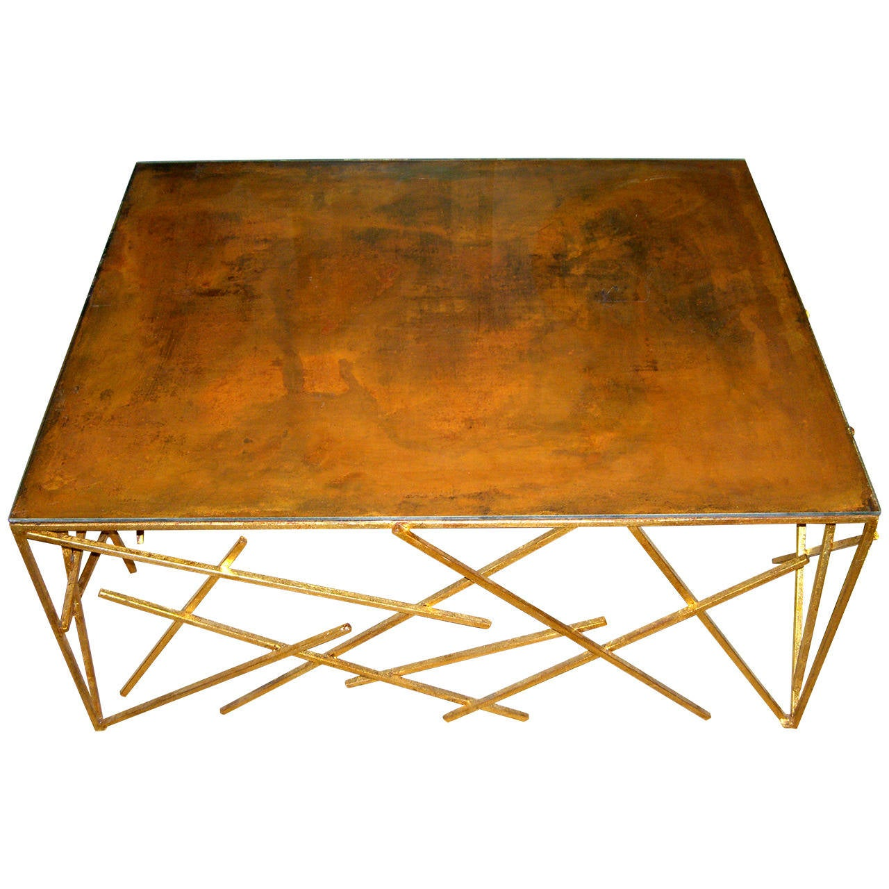 Custom Metal Criss-Cross Design Cocktail Table For Sale