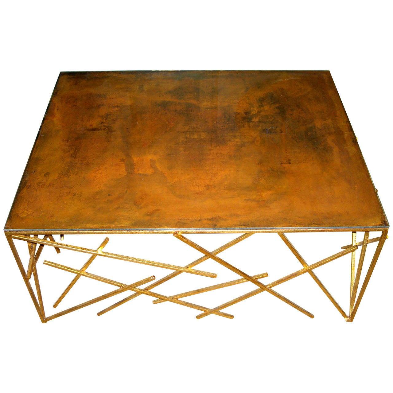 Custom Metal Criss-Cross Design Cocktail Table 1