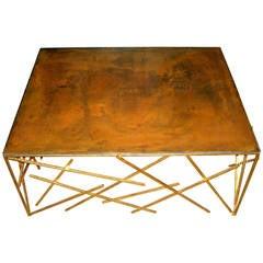 Custom Metal Criss-Cross Design Cocktail Table