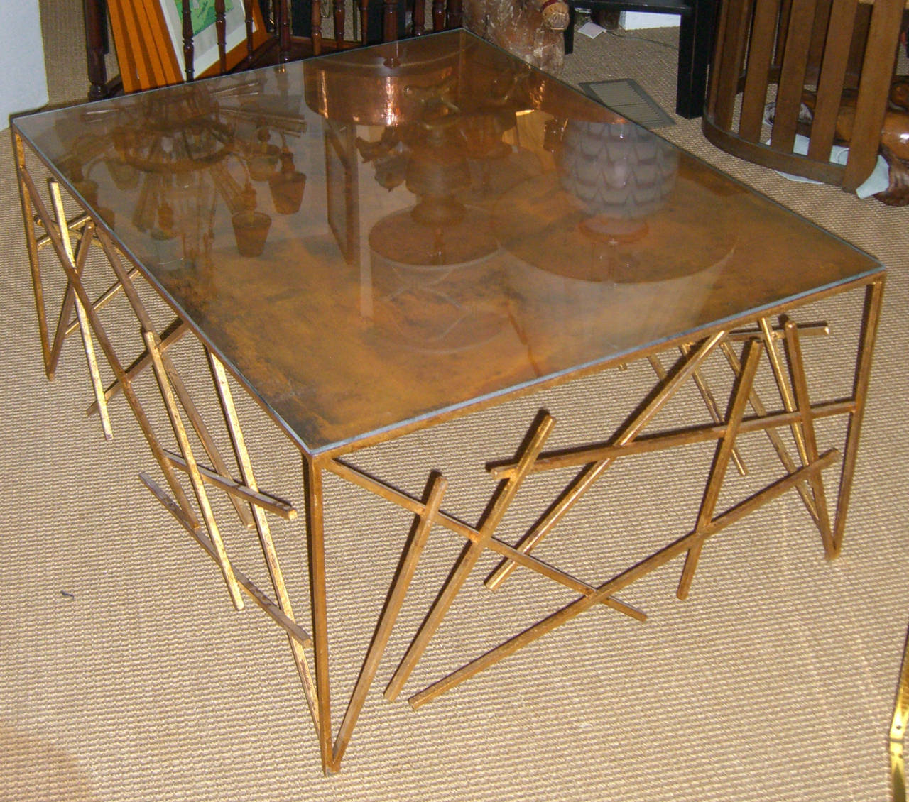 French Custom Metal Criss-Cross Design Cocktail Table For Sale