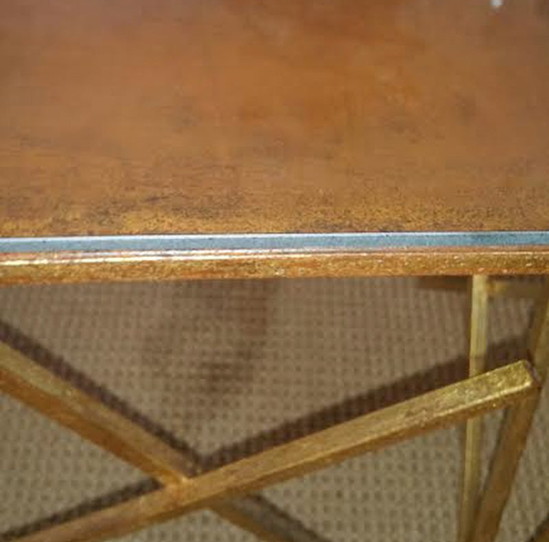 Custom Metal Criss-Cross Design Cocktail Table In Excellent Condition For Sale In Mt Kisco, NY