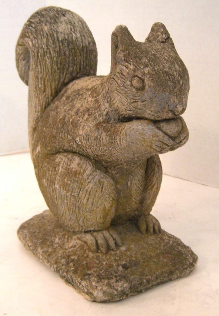 Vintage Belgian Cast Stone Squirrel Garden Ornament At 1stdibs