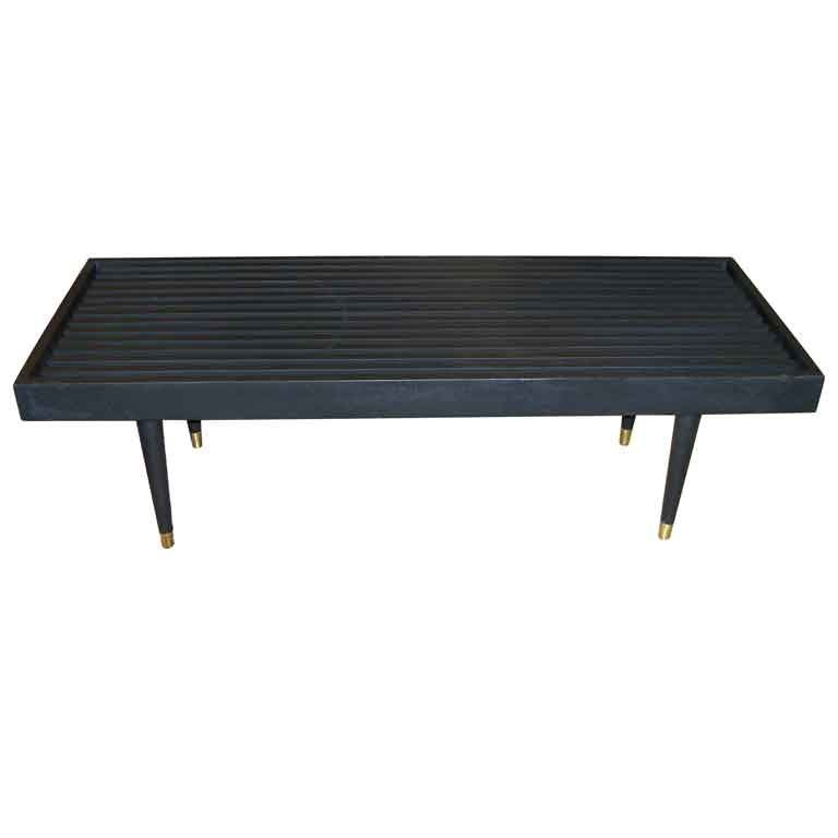 Mid Century Solid Wood Small Platform Slat Bench Or Coffee: Mid Century Black Wood Platform Slat Bench At 1stdibs